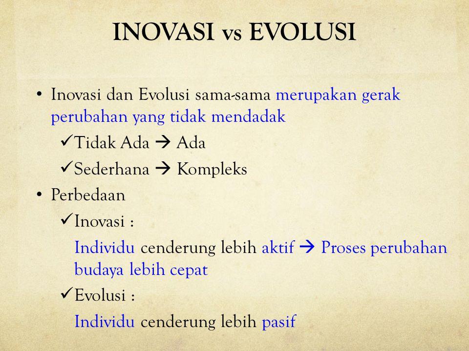 INOVASI vs EVOLUSI Inovasi dan Evolusi sama-sama merupakan gerak perubahan yang tidak mendadak. Tidak Ada  Ada.