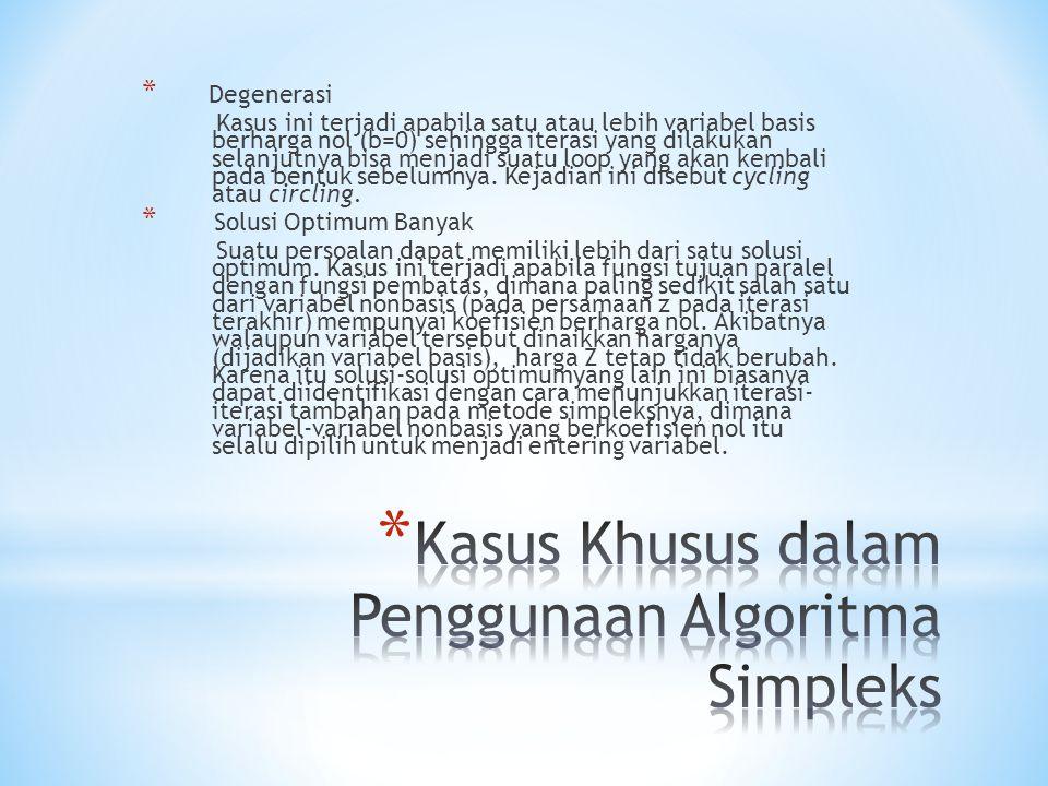 Kasus Khusus dalam Penggunaan Algoritma Simpleks