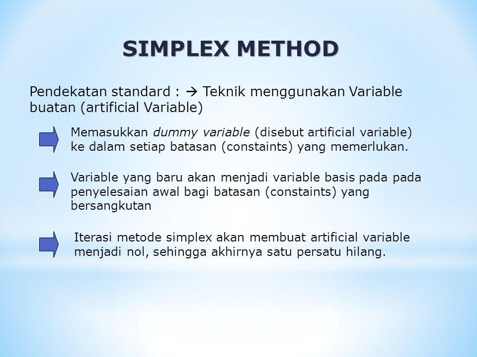 SIMPLEX METHOD Pendekatan standard :  Teknik menggunakan Variable buatan (artificial Variable)