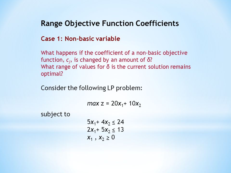 Range Objective Function Coefficients