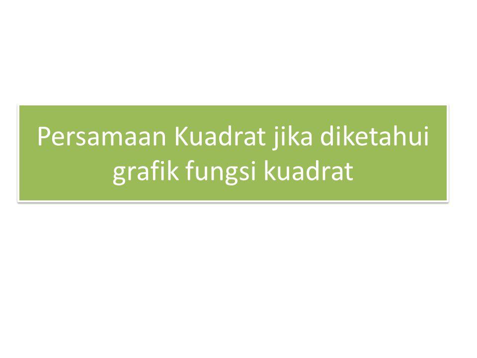 Persamaan Kuadrat jika diketahui grafik fungsi kuadrat