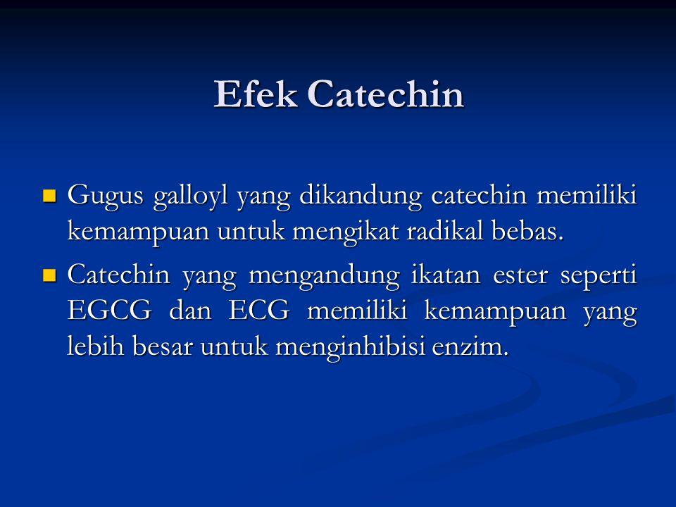 Efek Catechin Gugus galloyl yang dikandung catechin memiliki kemampuan untuk mengikat radikal bebas.