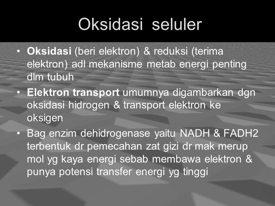 Oksidasi seluler Oksidasi (beri elektron) & reduksi (terima elektron) adl mekanisme metab energi penting dlm tubuh.