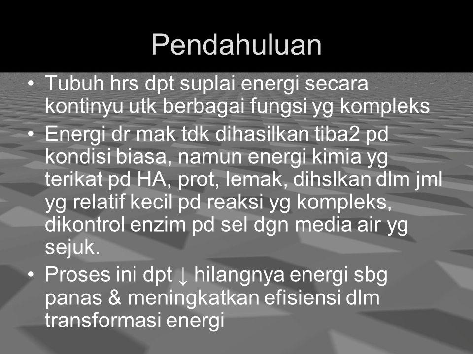Pendahuluan Tubuh hrs dpt suplai energi secara kontinyu utk berbagai fungsi yg kompleks.
