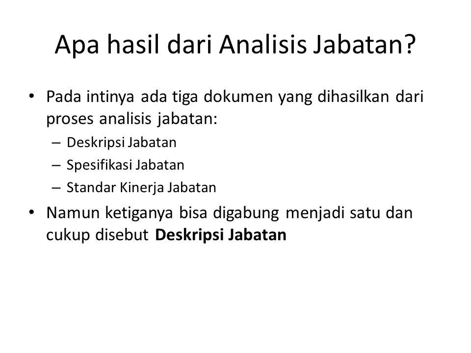 Apa hasil dari Analisis Jabatan