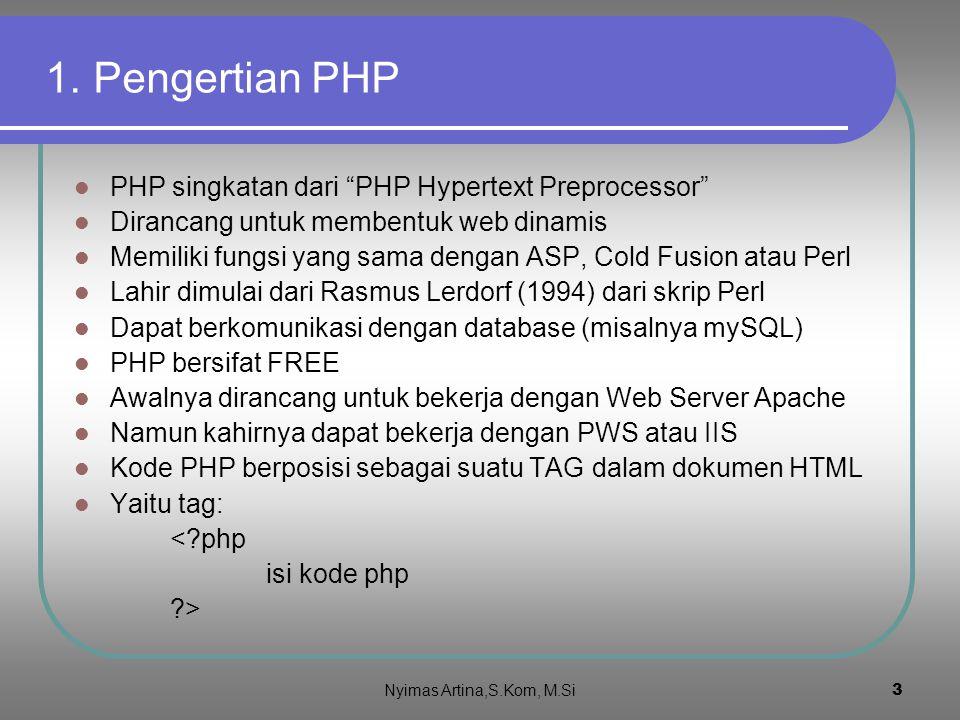 1. Pengertian PHP PHP singkatan dari PHP Hypertext Preprocessor