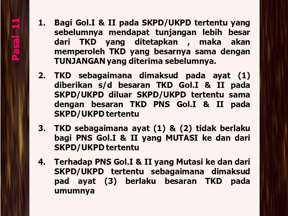 Bagi Gol.I & II pada SKPD/UKPD tertentu yang sebelumnya mendapat tunjangan lebih besar dari TKD yang ditetapkan , maka akan memperoleh TKD yang besarnya sama dengan TUNJANGAN yang diterima sebelumnya.