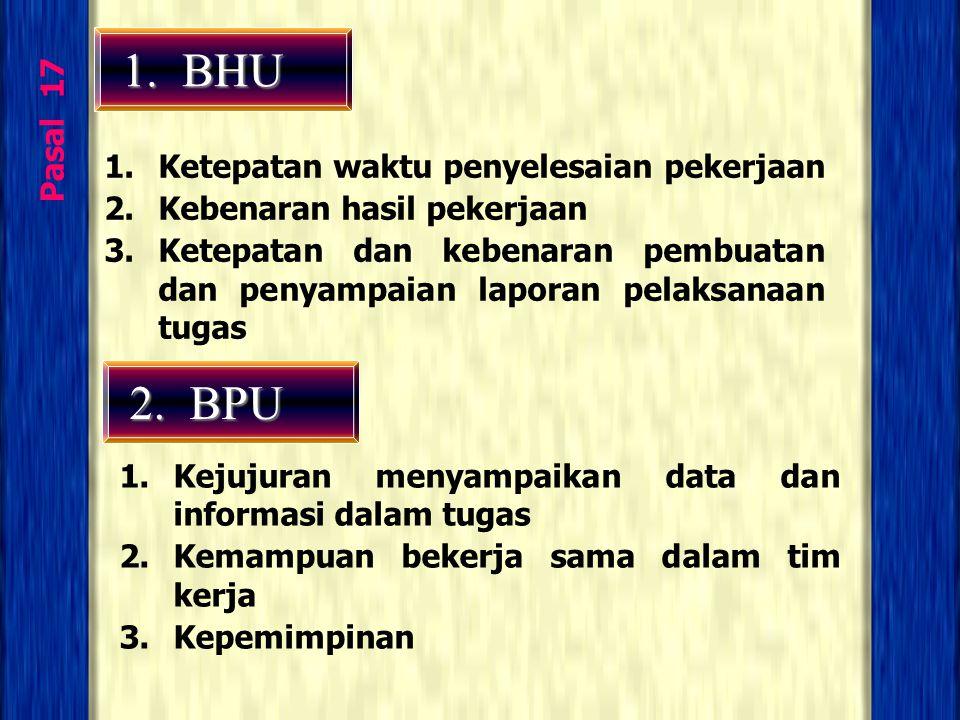 1. BHU 2. BPU Pasal 17 Ketepatan waktu penyelesaian pekerjaan