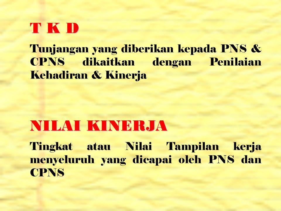 T K D Tunjangan yang diberikan kepada PNS & CPNS dikaitkan dengan Penilaian Kehadiran & Kinerja. NILAI KINERJA.