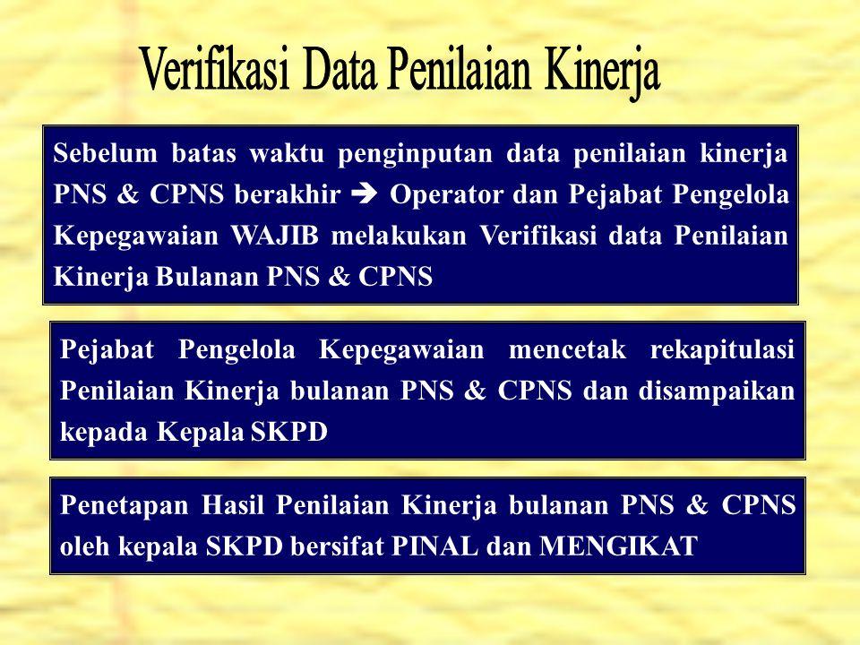 Verifikasi Data Penilaian Kinerja