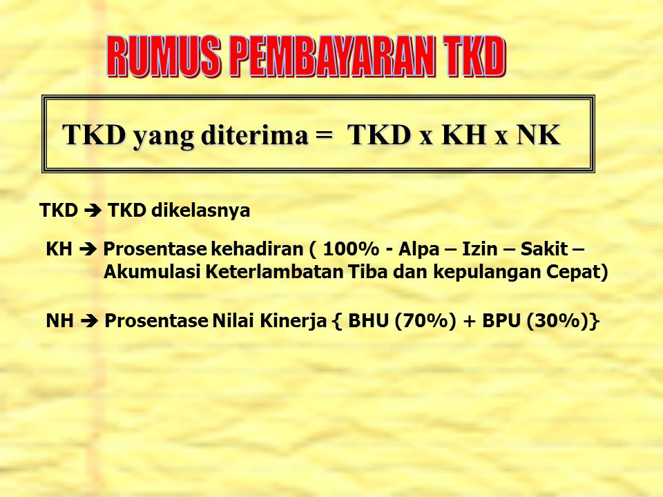 RUMUS PEMBAYARAN TKD TKD yang diterima = TKD x KH x NK