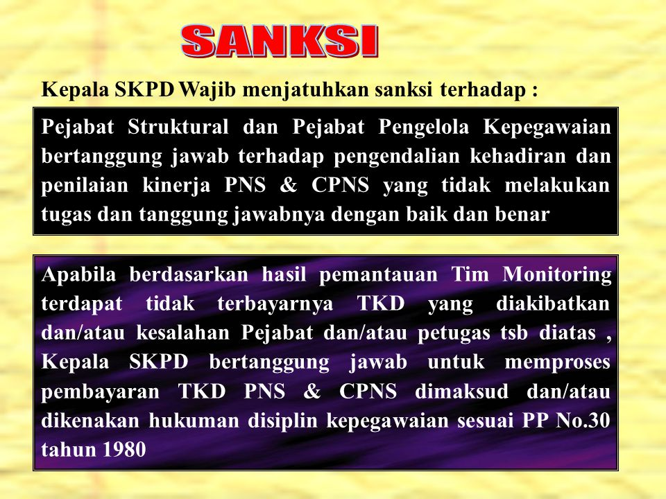 SANKSI Kepala SKPD Wajib menjatuhkan sanksi terhadap :