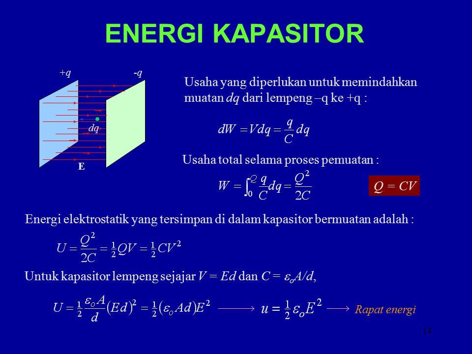 ENERGI KAPASITOR C. +q. -q. E. Usaha yang diperlukan untuk memindahkan muatan dq dari lempeng –q ke +q :