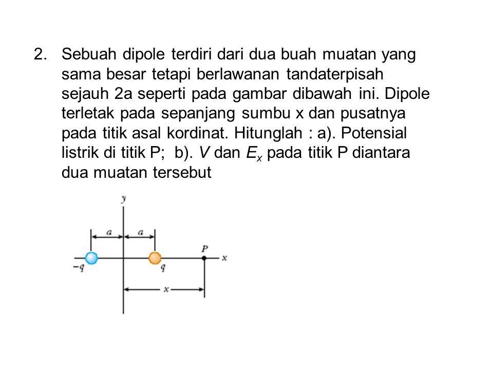Sebuah dipole terdiri dari dua buah muatan yang sama besar tetapi berlawanan tandaterpisah sejauh 2a seperti pada gambar dibawah ini.