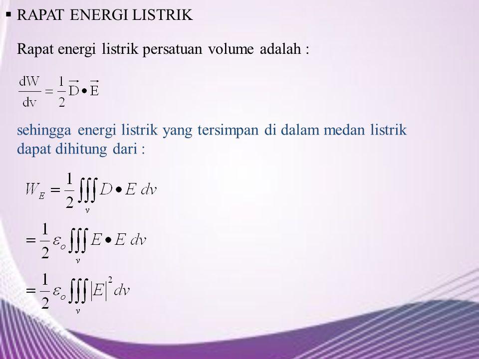 RAPAT ENERGI LISTRIK Rapat energi listrik persatuan volume adalah :