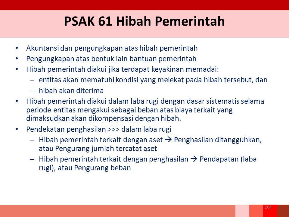 PSAK 61 Hibah Pemerintah Akuntansi dan pengungkapan atas hibah pemerintah. Pengungkapan atas bentuk lain bantuan pemerintah.