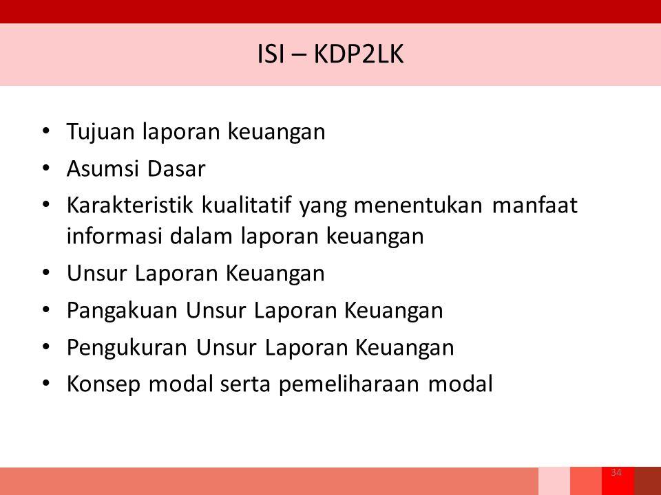 ISI – KDP2LK Tujuan laporan keuangan Asumsi Dasar