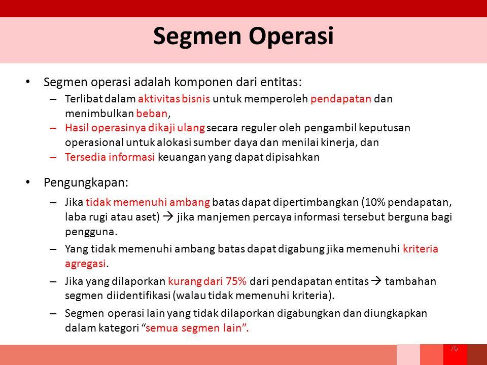 Segmen Operasi Segmen operasi adalah komponen dari entitas: