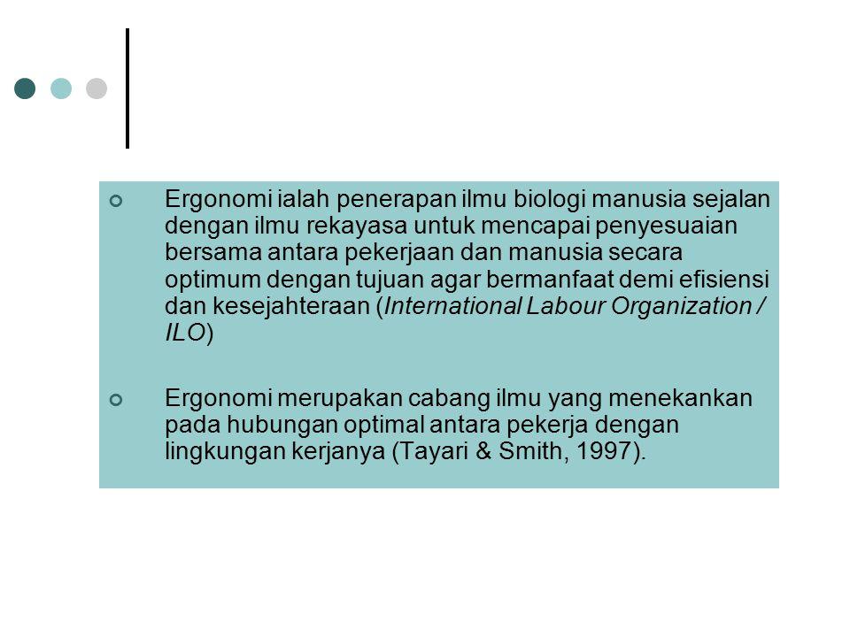 Ergonomi ialah penerapan ilmu biologi manusia sejalan dengan ilmu rekayasa untuk mencapai penyesuaian bersama antara pekerjaan dan manusia secara optimum dengan tujuan agar bermanfaat demi efisiensi dan kesejahteraan (International Labour Organization / ILO)