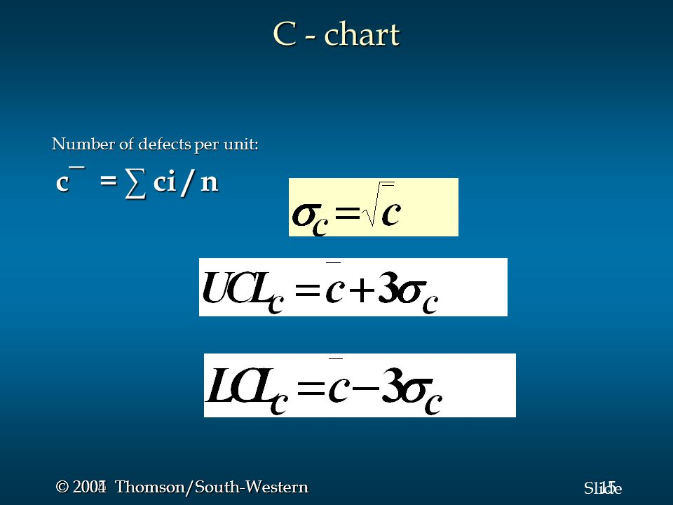 C - chart Number of defects per unit: c¯ = ∑ ci / n