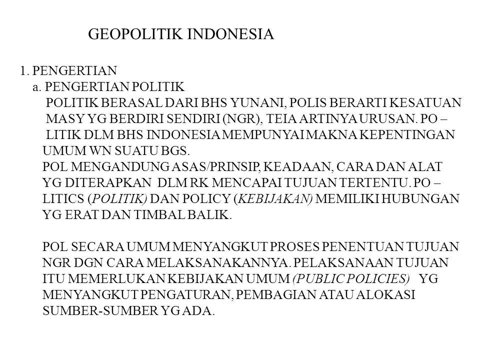 GEOPOLITIK INDONESIA 1. PENGERTIAN a. PENGERTIAN POLITIK