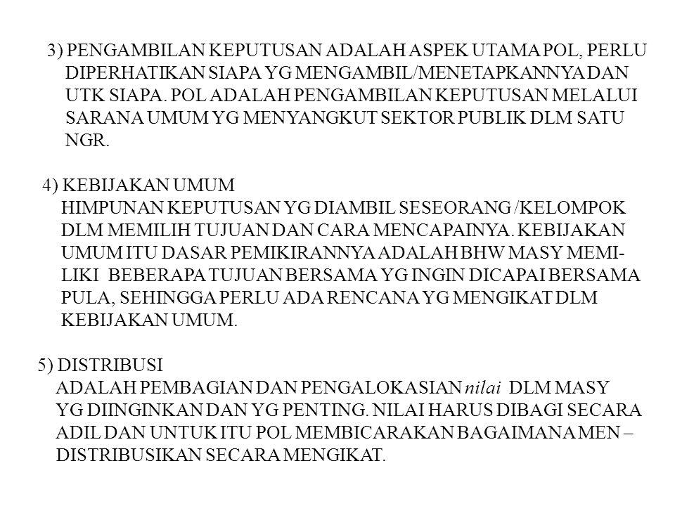 3) PENGAMBILAN KEPUTUSAN ADALAH ASPEK UTAMA POL, PERLU