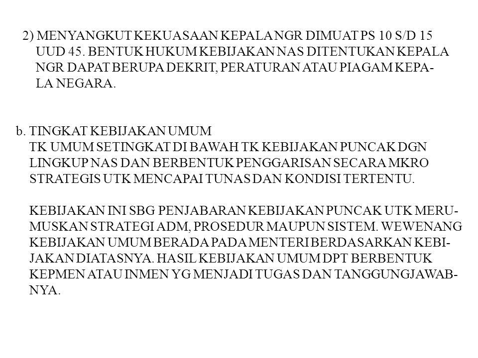 2) MENYANGKUT KEKUASAAN KEPALA NGR DIMUAT PS 10 S/D 15