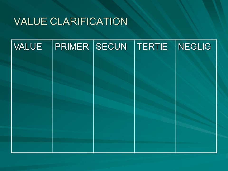 VALUE CLARIFICATION VALUE PRIMER SECUN TERTIE NEGLIG