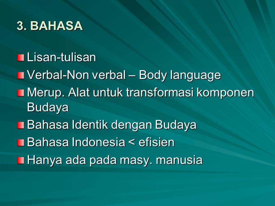 3. BAHASA Lisan-tulisan. Verbal-Non verbal – Body language. Merup. Alat untuk transformasi komponen Budaya.