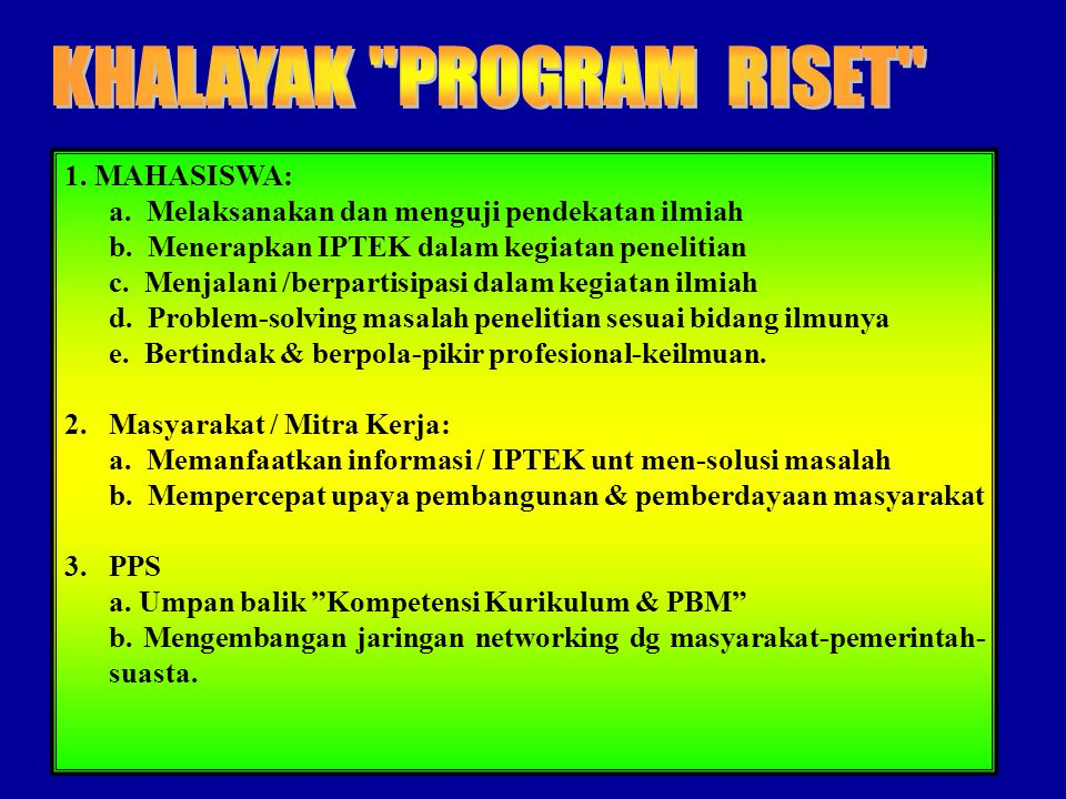 KHALAYAK PROGRAM RISET