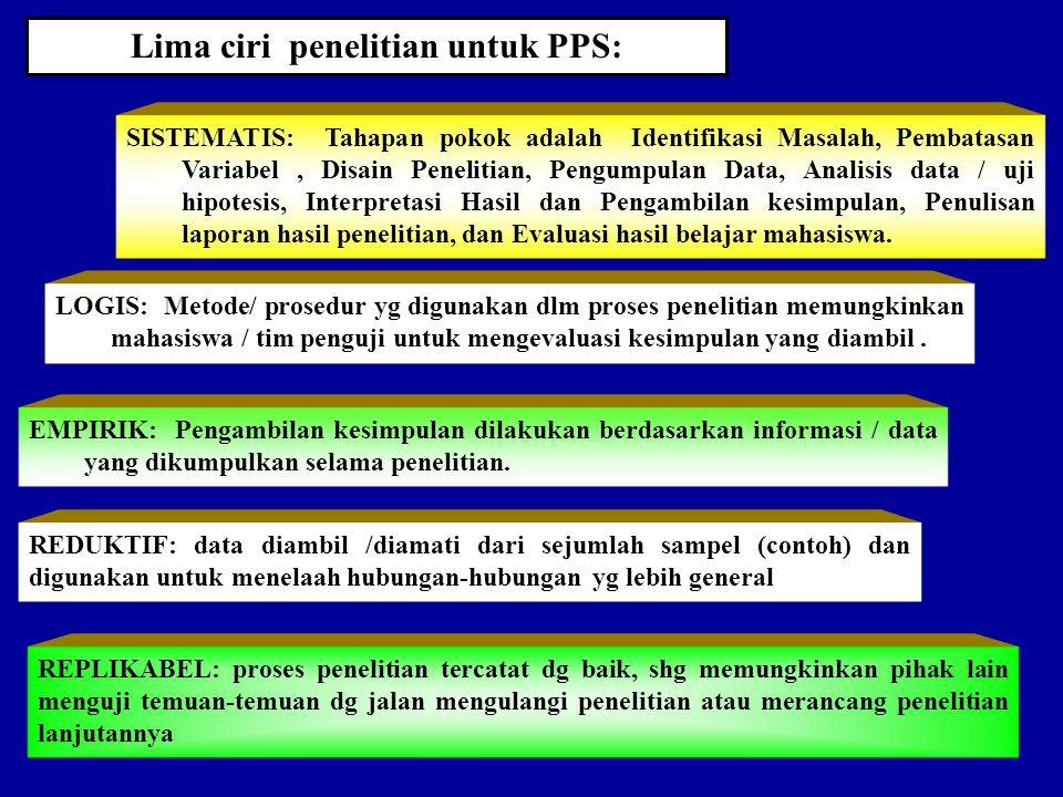 Lima ciri penelitian untuk PPS: