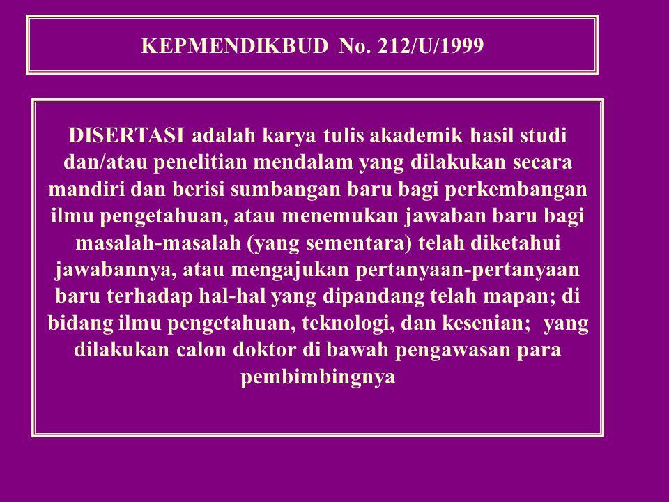 KEPMENDIKBUD No. 212/U/1999