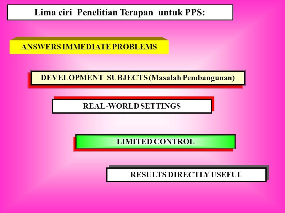 Lima ciri Penelitian Terapan untuk PPS: