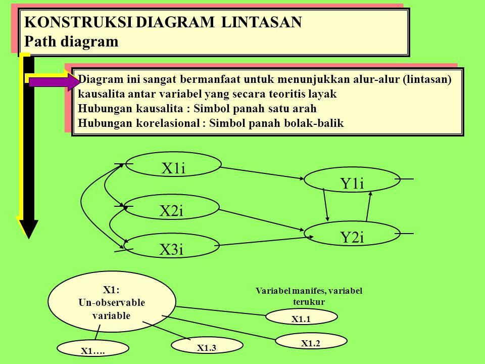 Un-observable variable Variabel manifes, variabel terukur