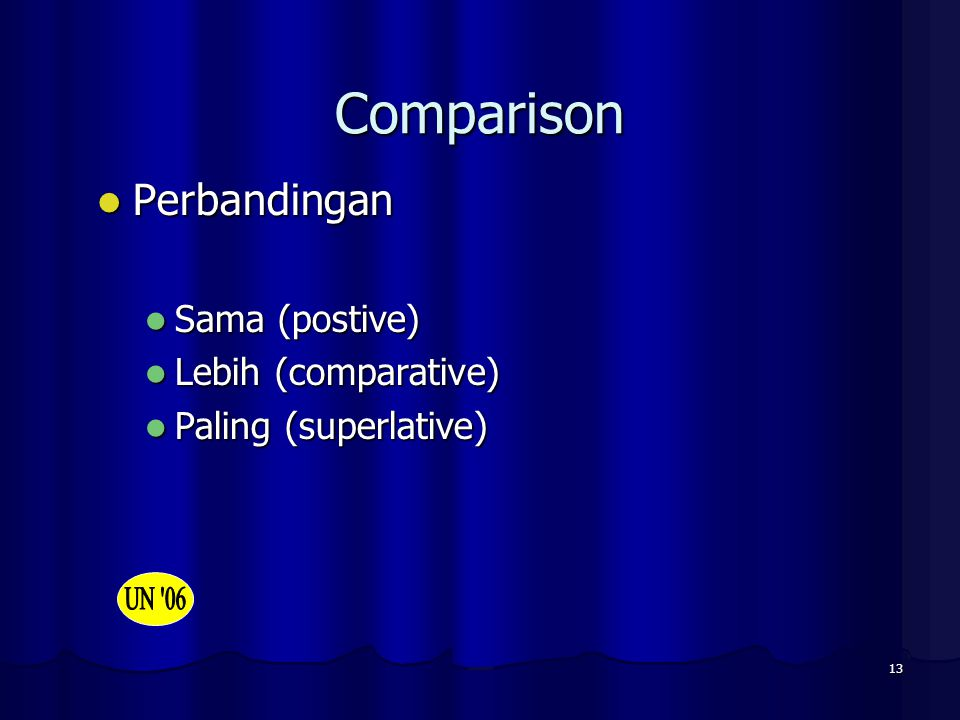 Comparison Perbandingan Sama (postive) Lebih (comparative)