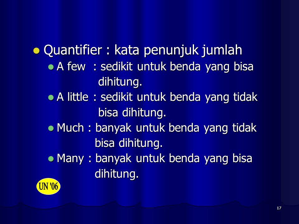 Quantifier : kata penunjuk jumlah
