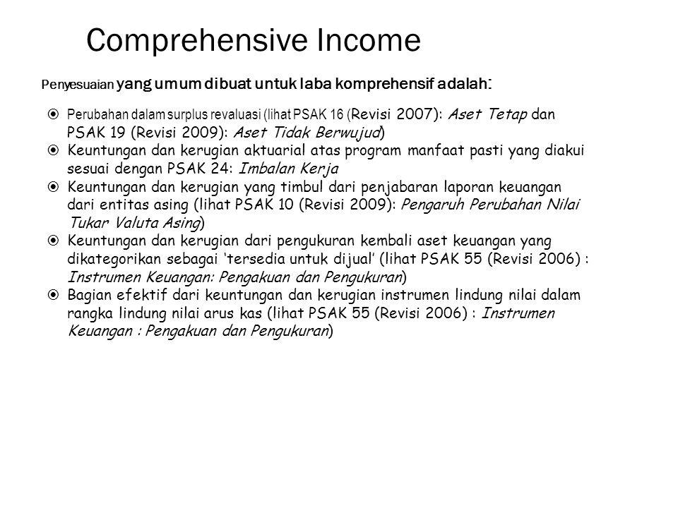 Comprehensive Income Penyesuaian yang umum dibuat untuk laba komprehensif adalah: