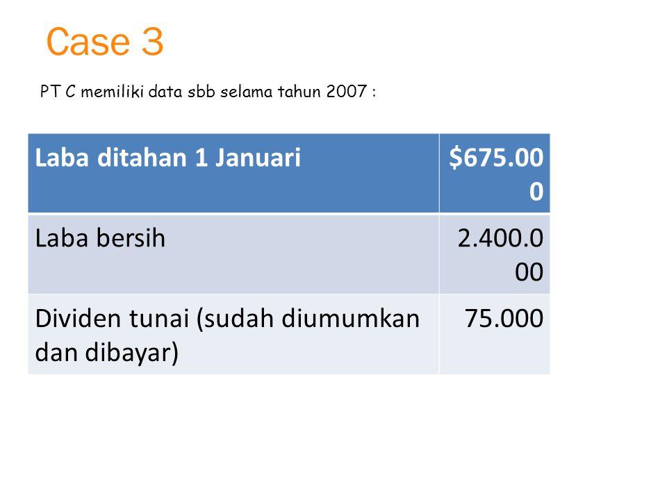 Case 3 Laba ditahan 1 Januari $675.000 Laba bersih 2.400.000