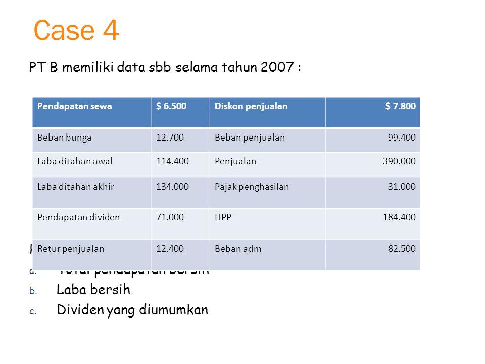 Case 4 PT B memiliki data sbb selama tahun 2007 : Hitunglah :
