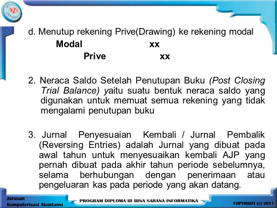 d. Menutup rekening Prive(Drawing) ke rekening modal
