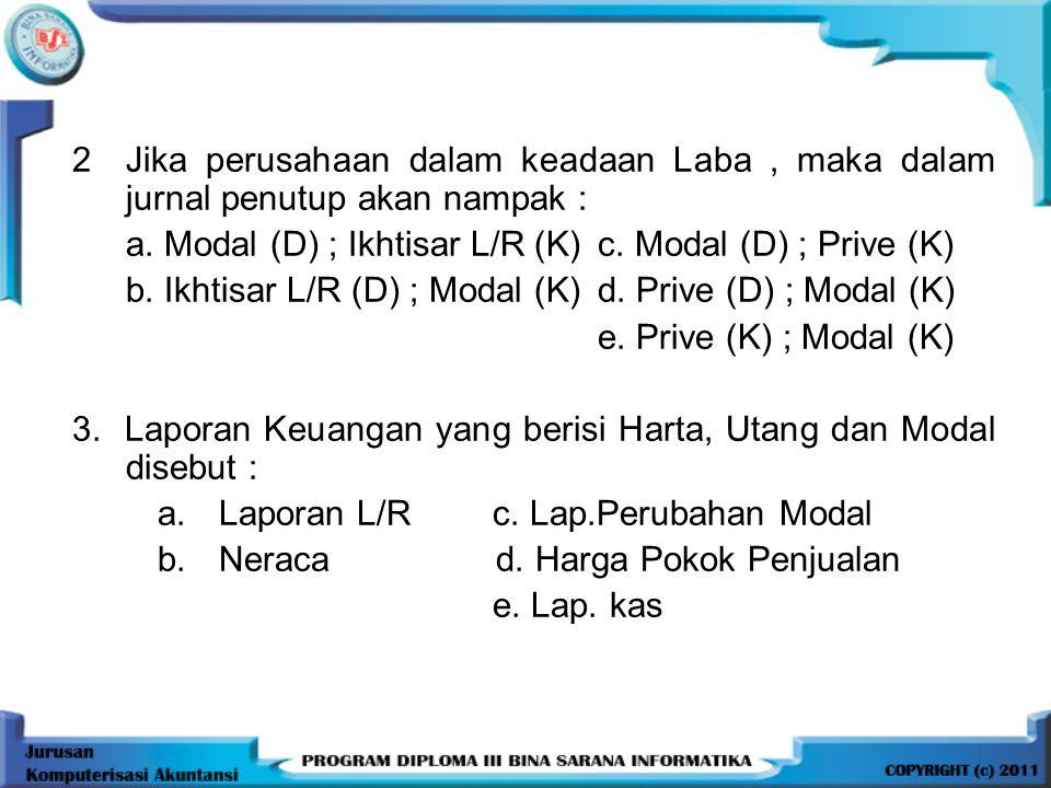 2 Jika perusahaan dalam keadaan Laba , maka dalam jurnal penutup akan nampak :