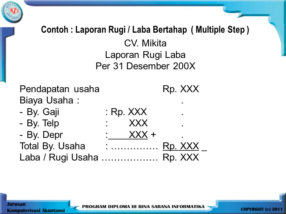Contoh : Laporan Rugi / Laba Bertahap ( Multiple Step )