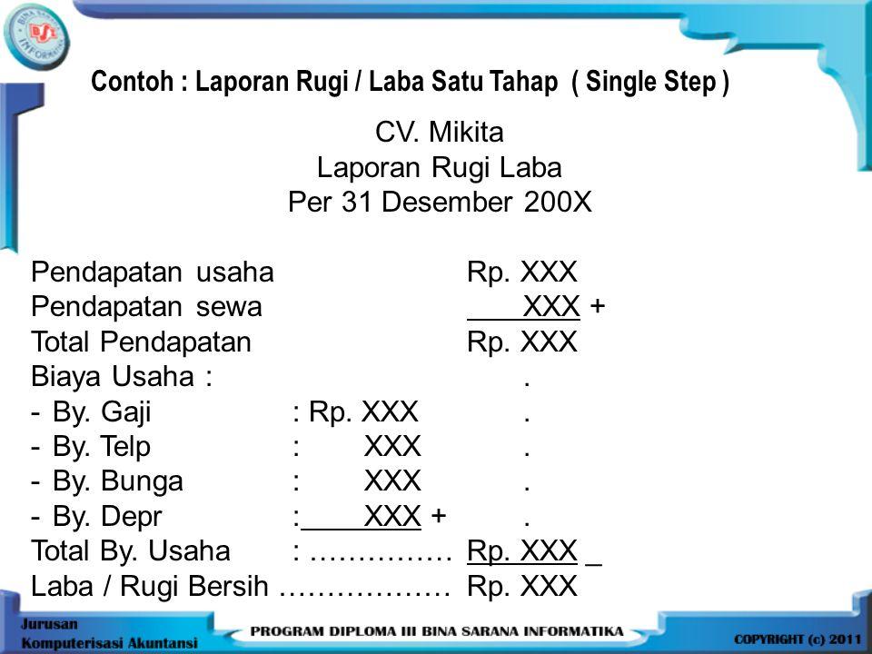 Contoh : Laporan Rugi / Laba Satu Tahap ( Single Step )