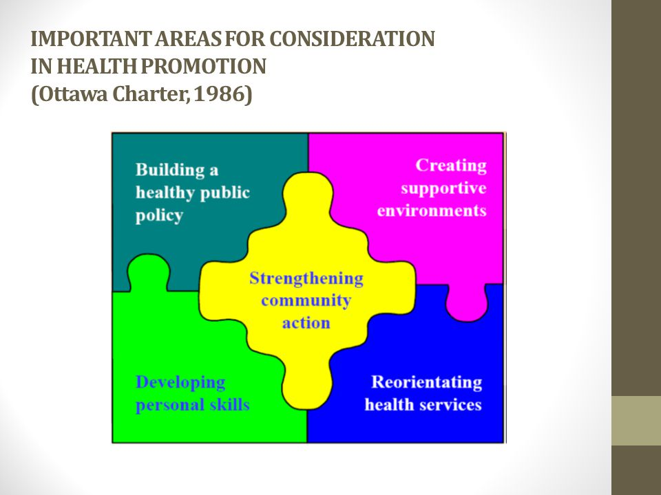 IMPORTANT AREAS FOR CONSIDERATION IN HEALTH PROMOTION (Ottawa Charter, 1986)