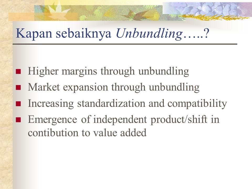 Kapan sebaiknya Unbundling…..