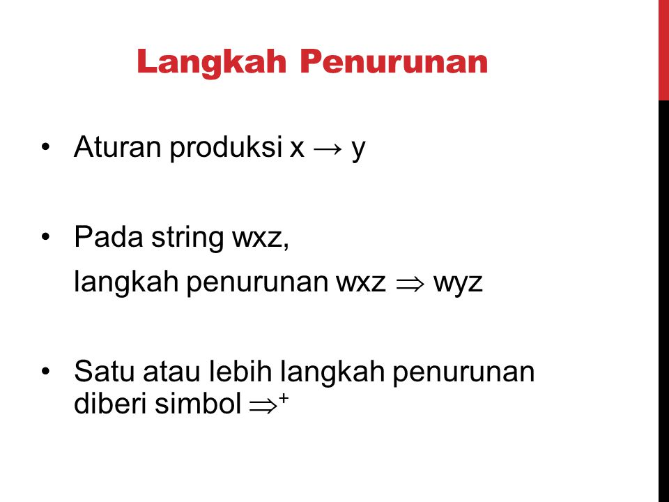 Langkah Penurunan Aturan produksi x → y Pada string wxz,
