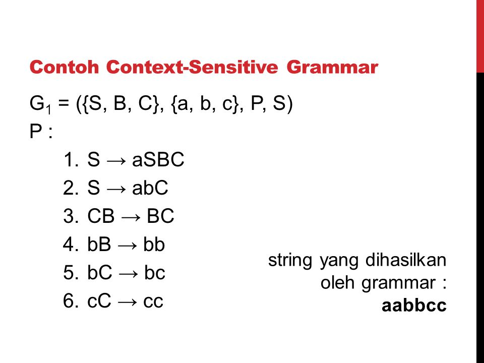 Contoh Context-Sensitive Grammar