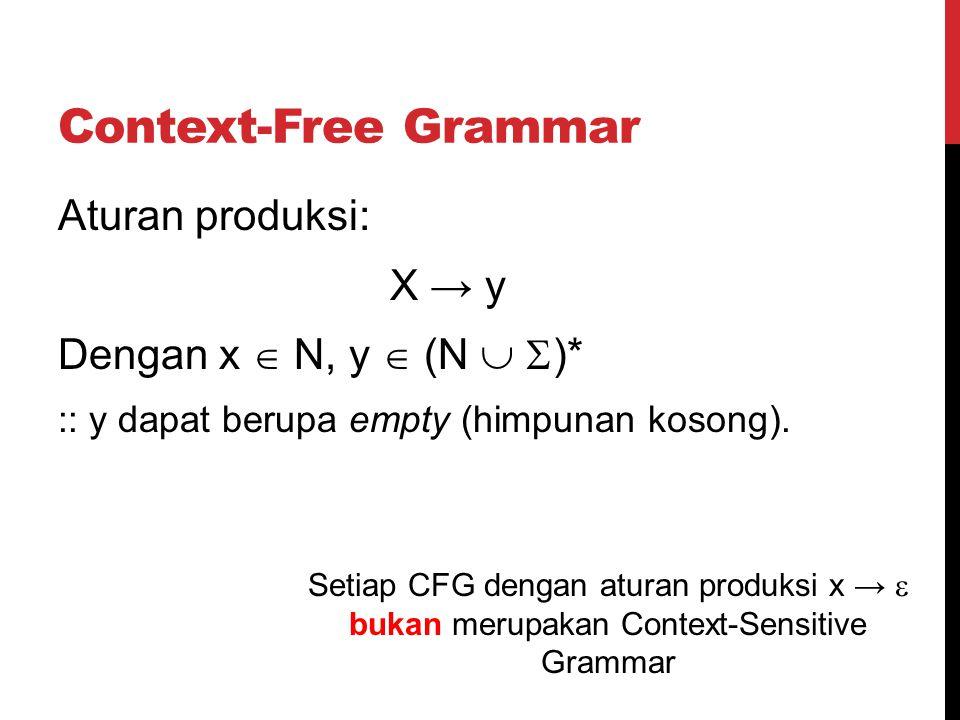 Context-Free Grammar Aturan produksi: X → y Dengan x  N, y  (N  )*
