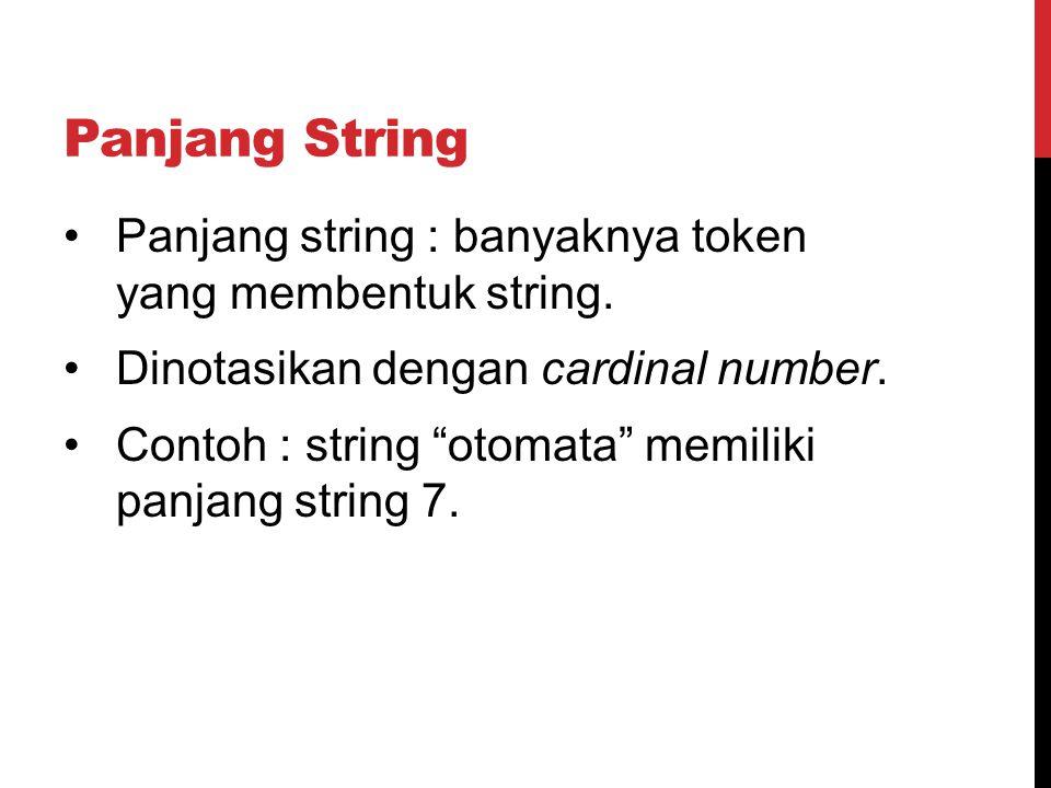 Panjang String Panjang string : banyaknya token yang membentuk string.
