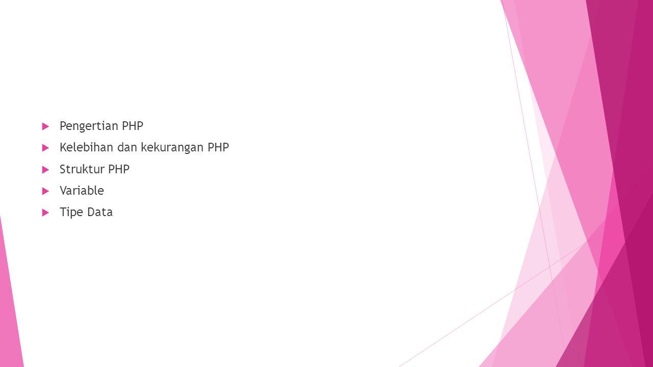 Pengertian PHP Kelebihan dan kekurangan PHP Struktur PHP Variable Tipe Data